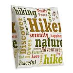 Hiker Word Cloud Burlap Throw Pillow