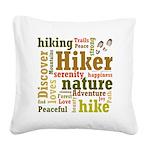 Hiker Word Cloud Square Canvas Pillow