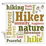Hiker Word Cloud Shower Curtain