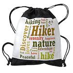 Hiker Word Cloud Drawstring Bag