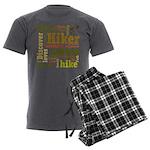 Hiker Word Cloud Men's Charcoal Pajamas