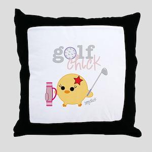 Golf Chick Throw Pillow