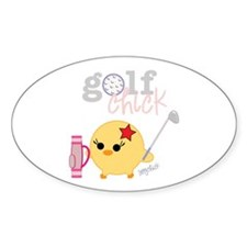 Golf Chick Oval Sticker