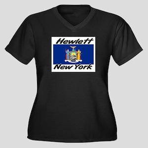 Hewlett New York Women's Plus Size V-Neck Dark T-S