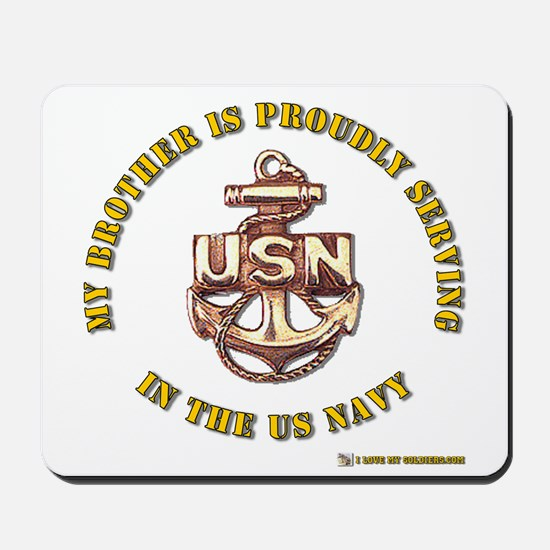 Navy gold Brother Mousepad