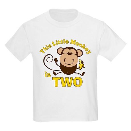 Little Monkey 2nd Birthday Boy Kids Light T Shirt