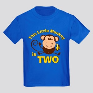Little Monkey 2nd Birthday Boy Kids Dark T-Shirt