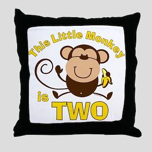 Little Monkey 2nd Birthday Boy Throw Pillow