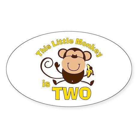 Little Monkey 2nd Birthday Boy Oval Sticker