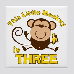 Little Monkey 3rd Birthday Boy Tile Coaster