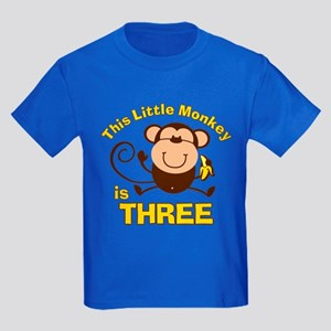 Little Monkey 3rd Birthday Boy Kids Dark T-Shirt
