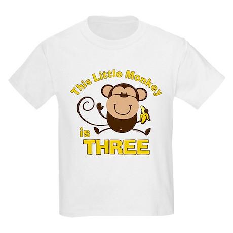 Little Monkey 3rd Birthday Boy Kids Light T-Shirt