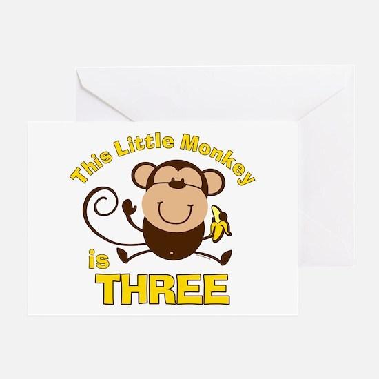 Little Monkey 3rd Birthday Boy Greeting Card