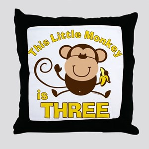 Little Monkey 3rd Birthday Boy Throw Pillow