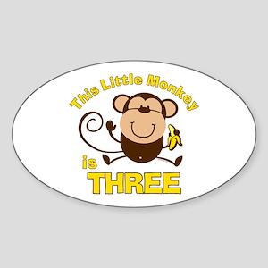 Little Monkey 3rd Birthday Boy Oval Sticker