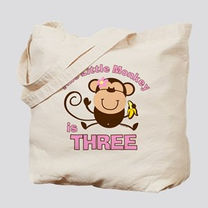 Little Monkey 3rd Birthday Girl Tote Bag