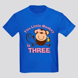 Little Monkey 3rd Birthday Girl Kids Dark T-Shirt