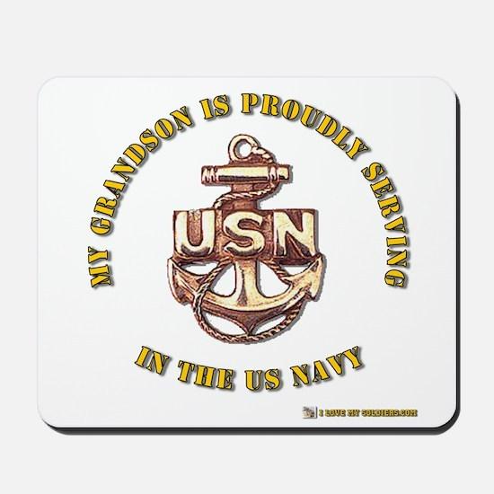 Navy Gold Grandson Mousepad