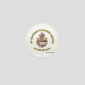 Navy Gold Grandson Mini Button