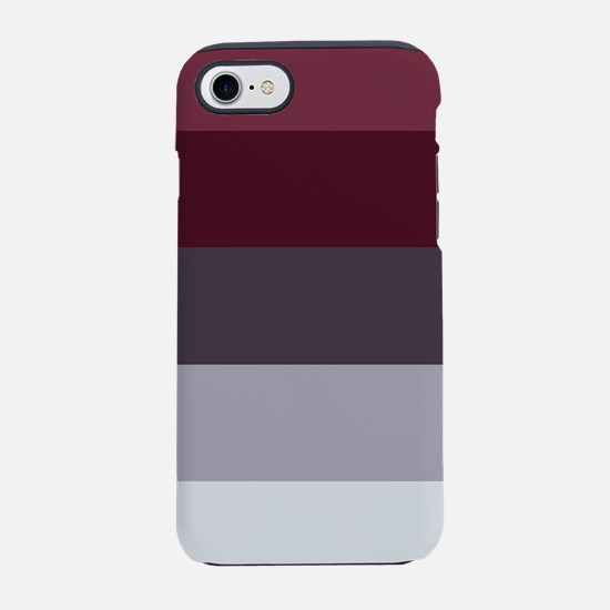 Plum Burgundy Grey Stripes iPhone 7 Tough Case