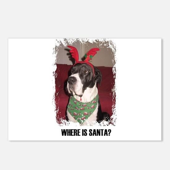 WHERES SANTA? GREAT DANE  Postcards (Package of 8)