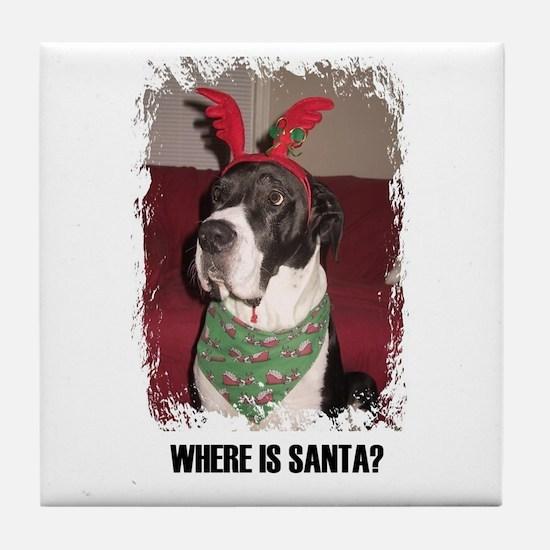 WHERES SANTA? GREAT DANE  Tile Coaster