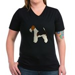 Wire Fox Terrier Women's V-Neck Dark T-Shirt