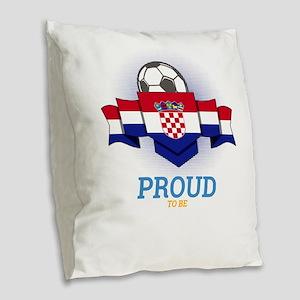 Football Croats Croatia Soccer Burlap Throw Pillow