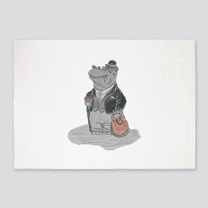 Mr Hippo Goes to Town 5'x7'Area Rug