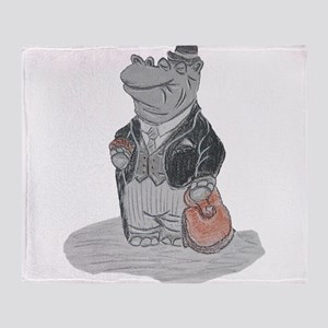 Mr Hippo Goes to Town Throw Blanket