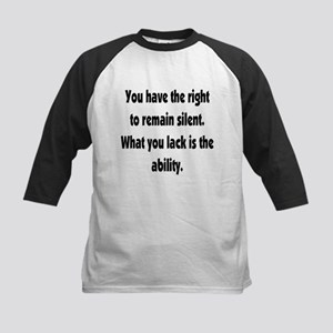 The right to remain silent Kids Baseball Jersey
