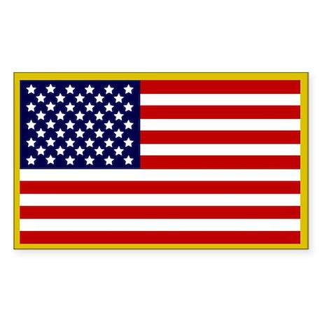 American Flag Sticker (Gold Border)