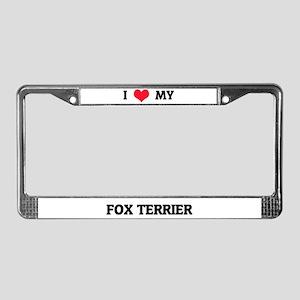 I Love (Heart) My Fox Terrier License Plate Frame