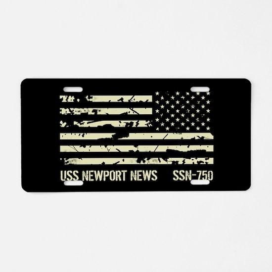 USS Newport News Aluminum License Plate