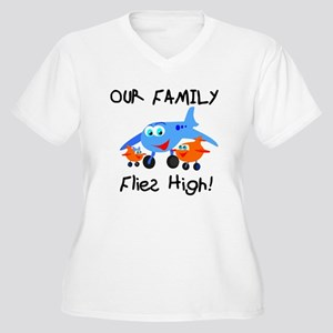 Our Family Flies High Women's Plus Size V-Neck T-S