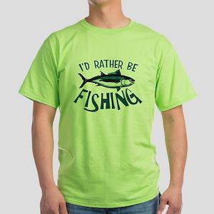 Rather Be Fishing Green T-Shirt