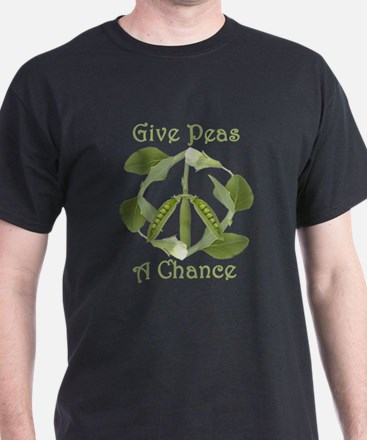 GIVE PEAS A CHANCE Black T-Shirt