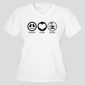 Peace Love Cops Women's Plus Size V-Neck T-Shirt