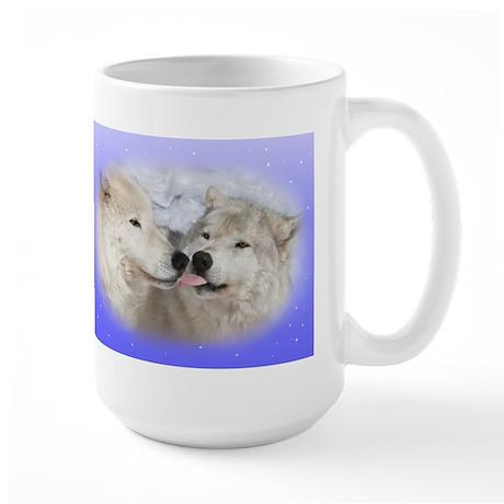 Kissing Arctic wolves Large Mug