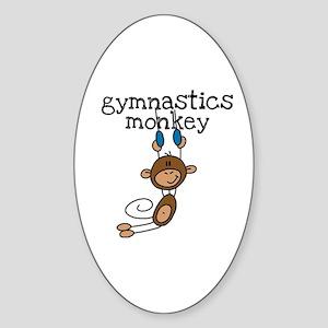 Gymnastics Monkey Oval Sticker