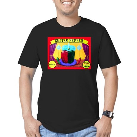 Produce Sideshow: Pepper Men's Fitted T-Shirt (dar