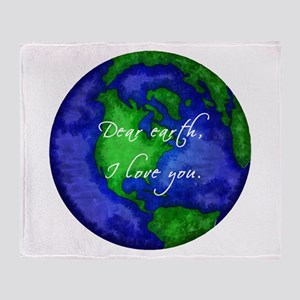 Dear Earth, I Love You Throw Blanket