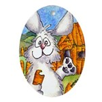 Cartoon Rabbits Oval Ornament