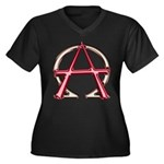 Alpha & Omega Anarchy Symbol Women's Plus Size V-N