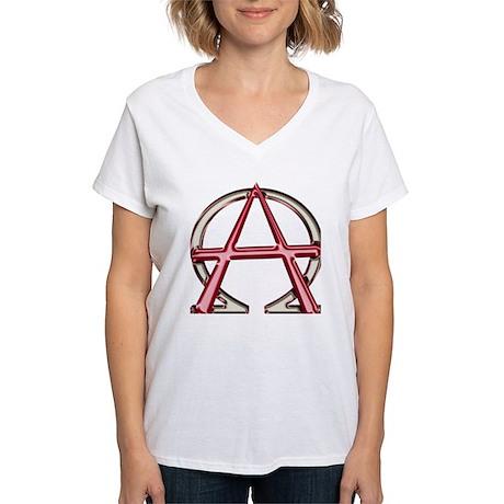 Alpha & Omega Anarchy Symbol Women's V-Neck T-Shir
