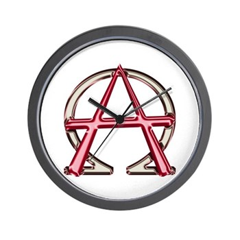 Alpha & Omega Anarchy Symbol Wall Clock