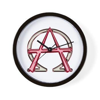 Alpha Omega Anarchy Symbol Wall Clock Christian Alpha And Omega