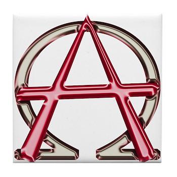 Alpha Omega Anarchy Symbol Tile Coaster Christian Alpha And