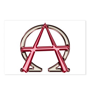 Alpha & Omega Anarchy Symbol 8 Postcards