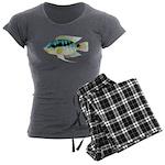Flag (Festivus) cichlid Women's Charcoal Pajamas